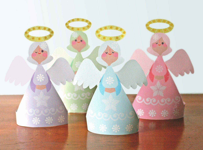 Christmas Angels, printable paper ornament kit