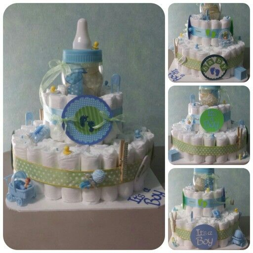 Baby Shower Diaper Cake - Its a boy - polka dots
