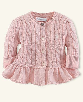 4bea664c5 Ralph Lauren Baby Sweater, Baby Girls Flared-Hem Cardigan - Kids Newborn  Shop - Macy's