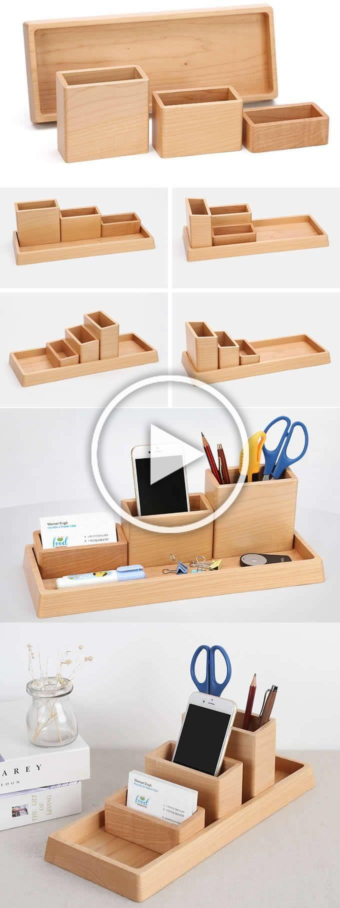 4 Compartments Wooden Office Desk Organizer Collection Smart Phone
