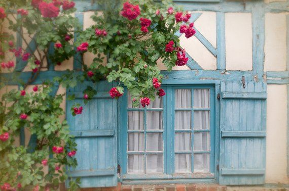 French Country Photo  Blue Shutters and Roses on Cottage Window, Picardy, France, Home Decor is part of Country Home Accessories Window - French Country Fine Art Photograph Title  Blue Shutters  Taken by me in June, 2011, in Picardy, France, this nostalgic print shows a window covered with roses in a picturesque halftimbered blue cottage in a beautiful preserved medieval village in the country in Picardy, France  This listing is for a borderless fine art print, printed on beautiful premium quality archival photographic paper  It will be very carefully packaged for safe shipment  Any watermark will not be in final print  Copyright Notice All images shown in this shop are copyrighted under US and International copyright law to Georgianna Lane and may not be used without express permission