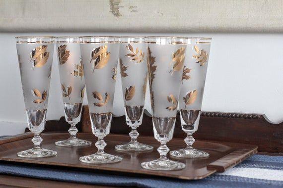 Photo of Mid-Century Gold Leaf Tapered Pilsner Glasses Set of Six | Etsy
