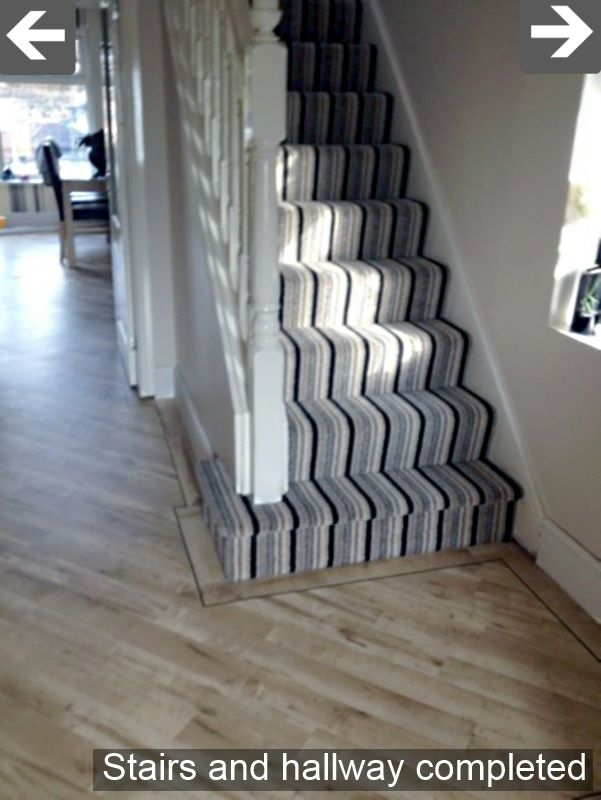 Black Grey White Striped Carpet For Stairs And Landing Striped