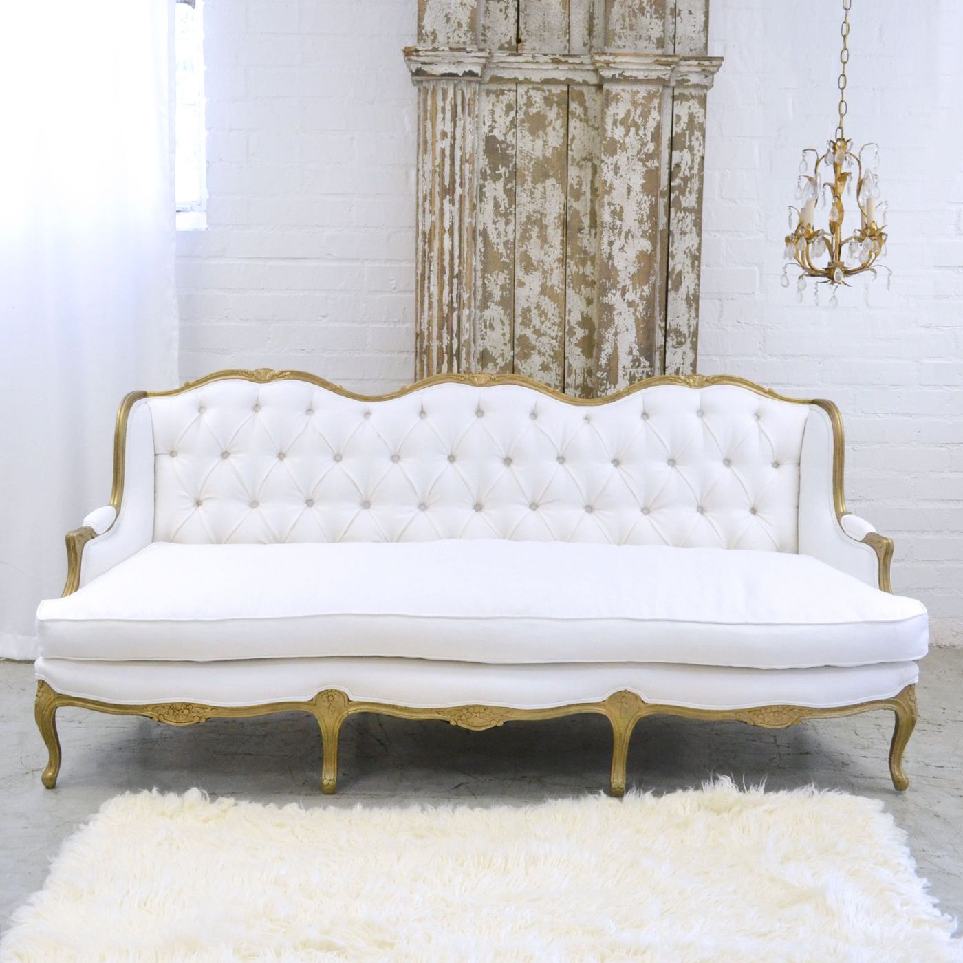 Shabby Cottage Chic Fancy White Linen Settee Couch Sofa French