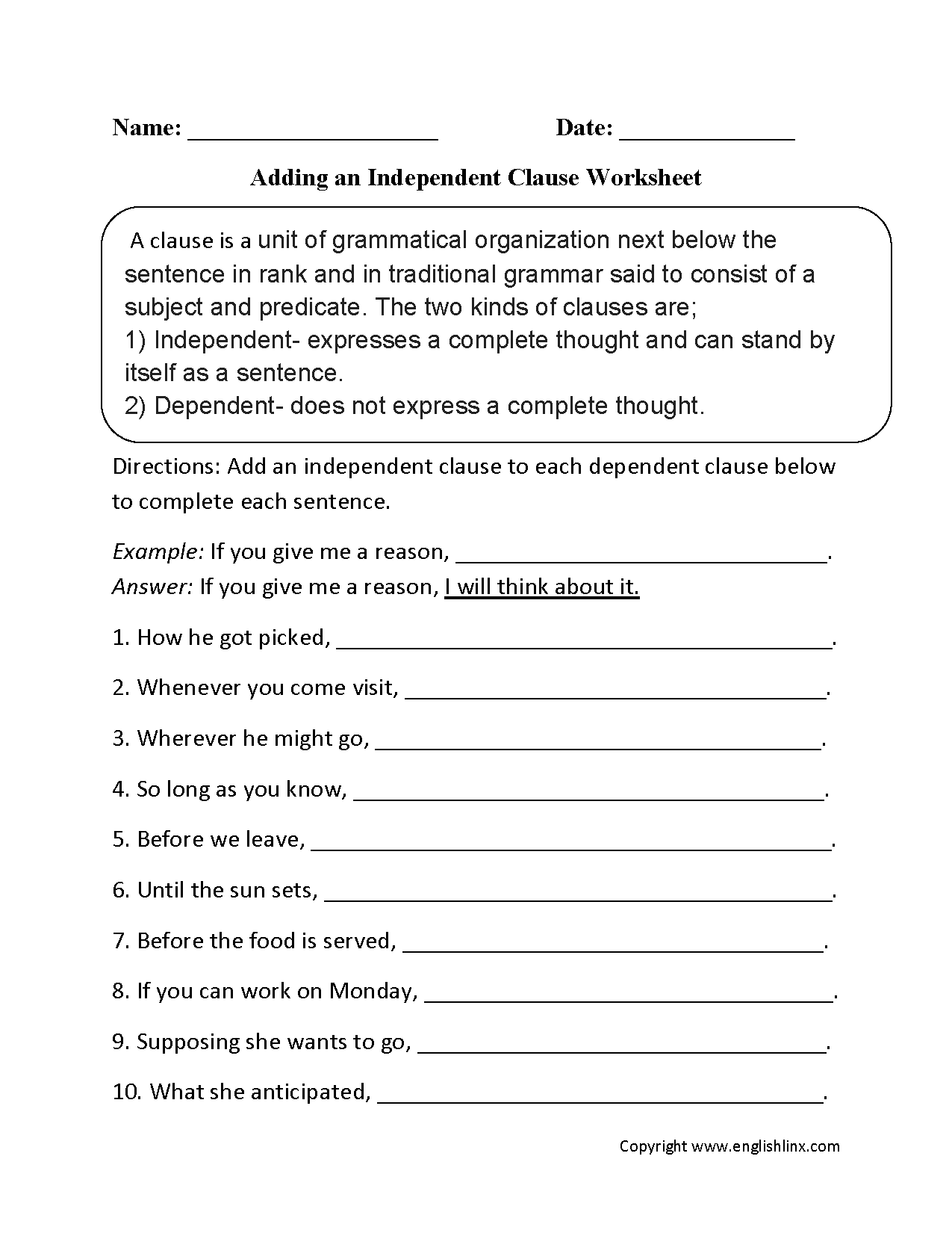 Adding An Inependent Clause Worksheet