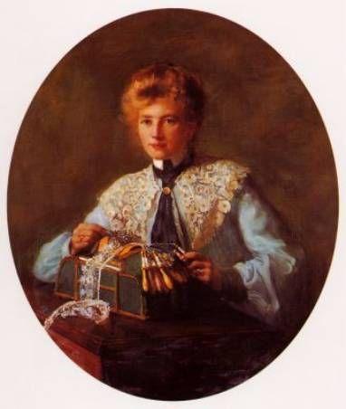 La dentellière. Huile sur toile 1903 de Jeanne FAVIER (française 1860 - 1904) Ambassade de France à Alger