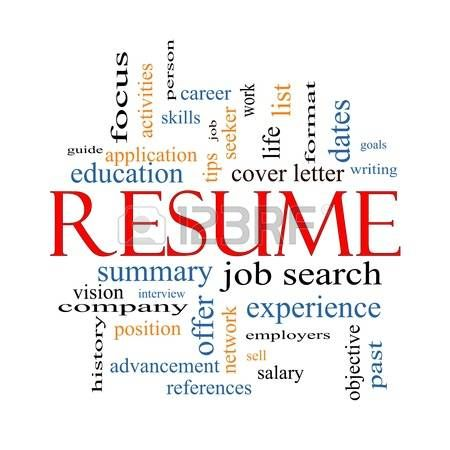 resume word cloud concept with great terms such as career job search interview and