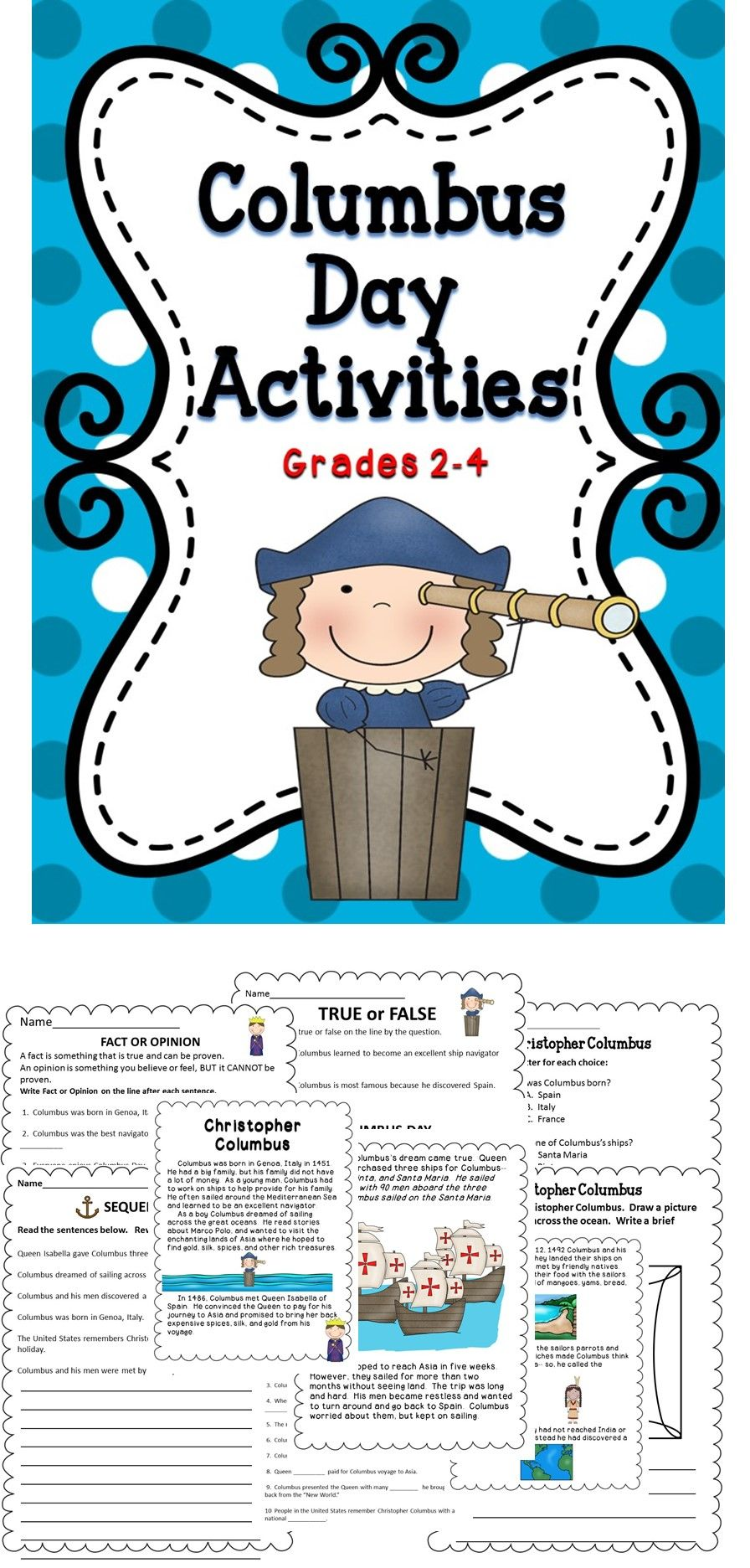 Columbus Day Activities Includes Reading Comprehension Activities Assessments And Wr 3rd Grade Social Studies Homeschool Elementary Teaching Social Studies Columbus day reading comprehension