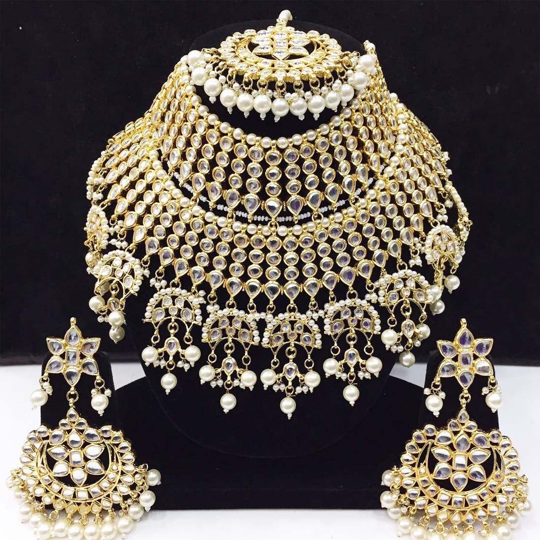 Gorgeous Marvelous Stone Pearls Touch Indian Tradi