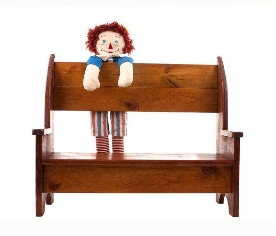 Vintage Wood Bench Handmade Doll Bench Book Shelf Rustic Etsy Kids Room Furniture Vintage Wood Wood Bench