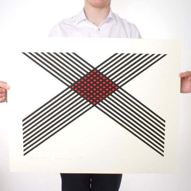 Signed Limited Edition Prints by Harold Krisel, Diagonal Grid 1972