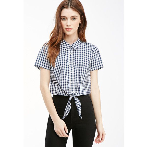 f3526dd72c2a67 Forever 21 Women s Cropped Knot-Front Gingham Shirt ( 13) ❤ liked on  Polyvore featuring tops