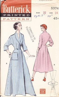 Vintage Sewing Pattern For A Woman S Bathrobe Butterick 1940 S Vintage Dress Patterns Dressing Gown Pattern Robe Pattern