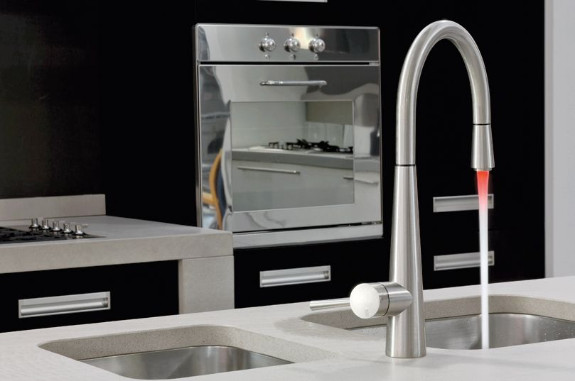 The Gessi Just Molock Pull Out Kitchen Tap With Led Light A Unique And Stylish