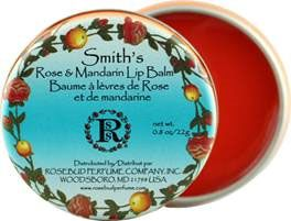 Smith's Rose & Mandarin vintage inspired lip balm offers a glossy moisturizer of essential oils and fragrant botanicals of rose, mandarin orange, and a hint of exotic spices.  Available at www.fairseasons.com