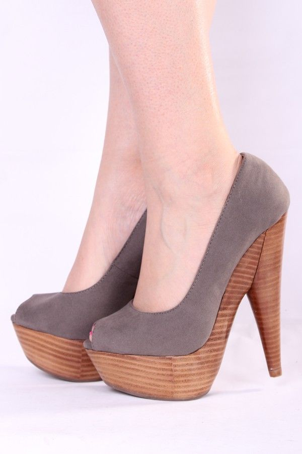 TAUPE FAUX SUEDE PEEP TOE WOODEN PLATFORM HIGH HEELS $5
