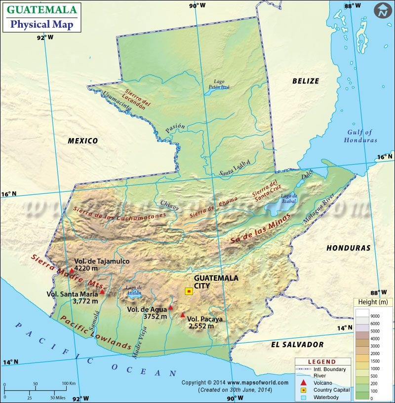 Physical Map Of Guatemala In 2020 Physical Map Physical Geography Guatemala