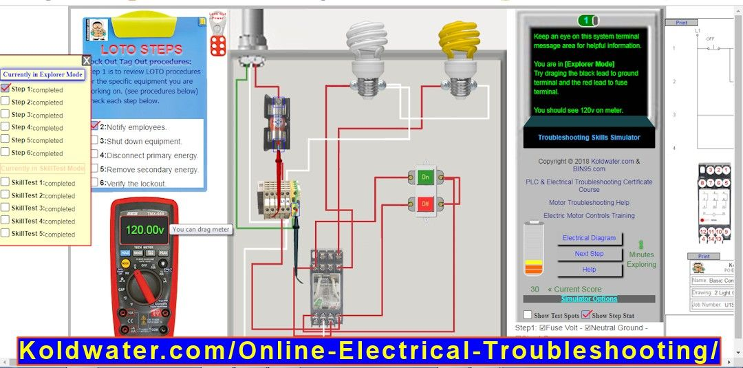 The free online electrical troubleshooting simulator is