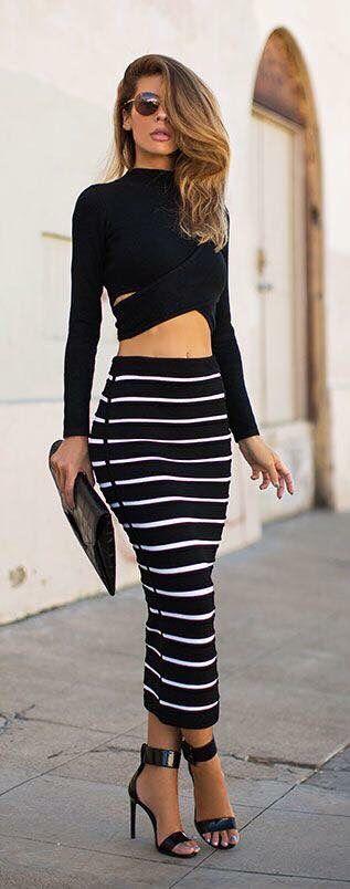 d0cf7e785 Falda larga a rayas blanca y negra | Moda | Faldas, Vestidos y Moda