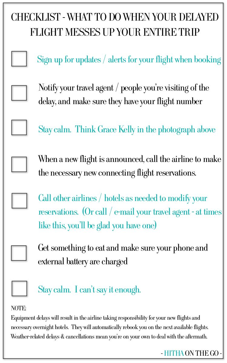 Checklist - what to do when your delayed flight messes up your travel plans. http://www.hithaonthego.com/view-from-seat-20a-deja-vu/