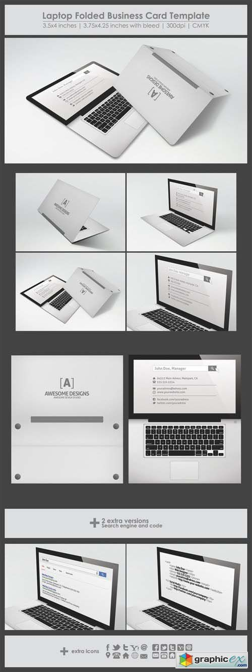 Laptop Folded Business Card Template 27557