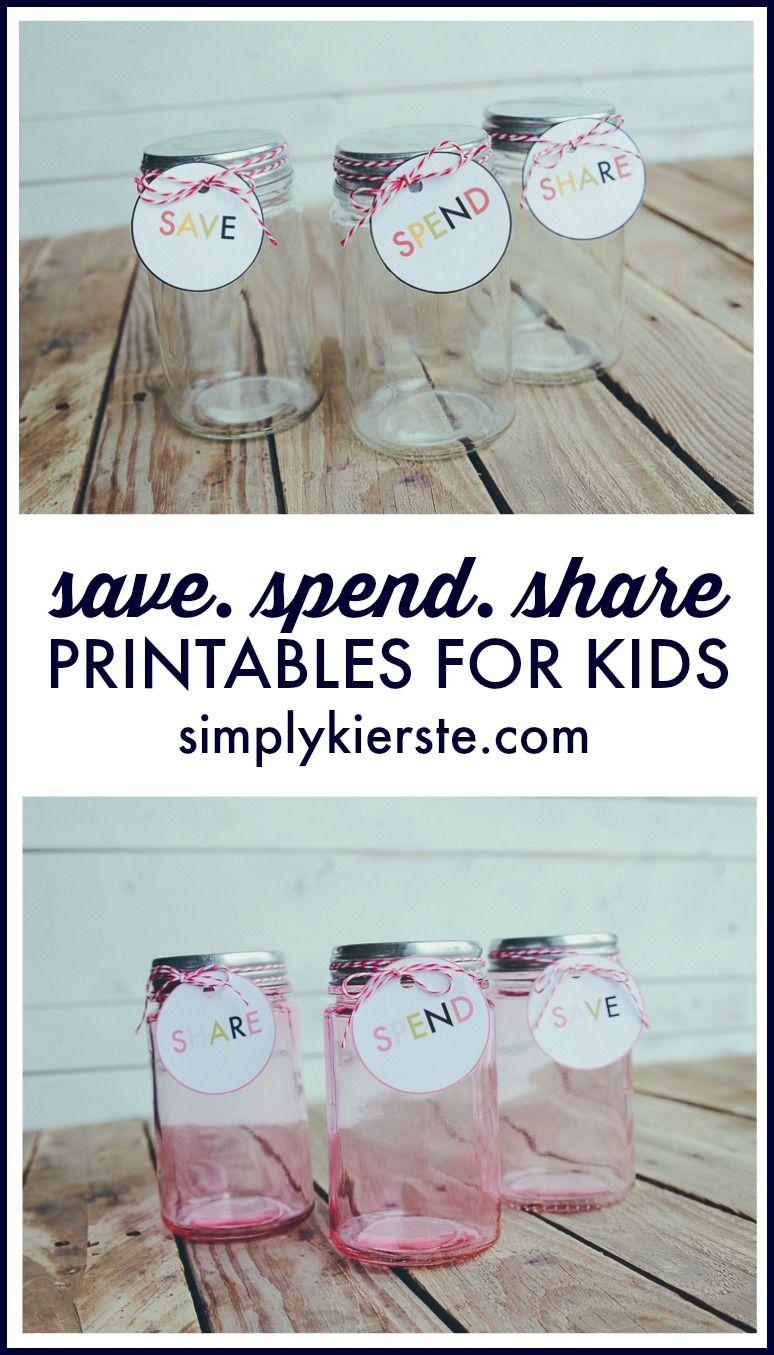 Save, Spend & Share Jars for Kids | Pinterest | Printable tags ...