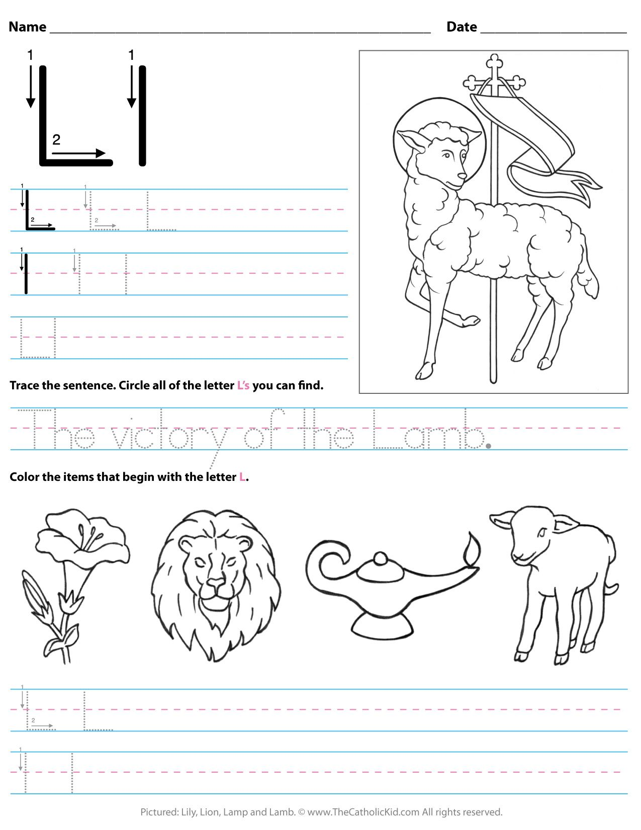 Catholic Alphabet Letter L Worksheet Preschool Kindergarten Thecatholickid Com Letter Worksheets For Preschool Letter L Worksheets Preschool Letters [ 1650 x 1275 Pixel ]