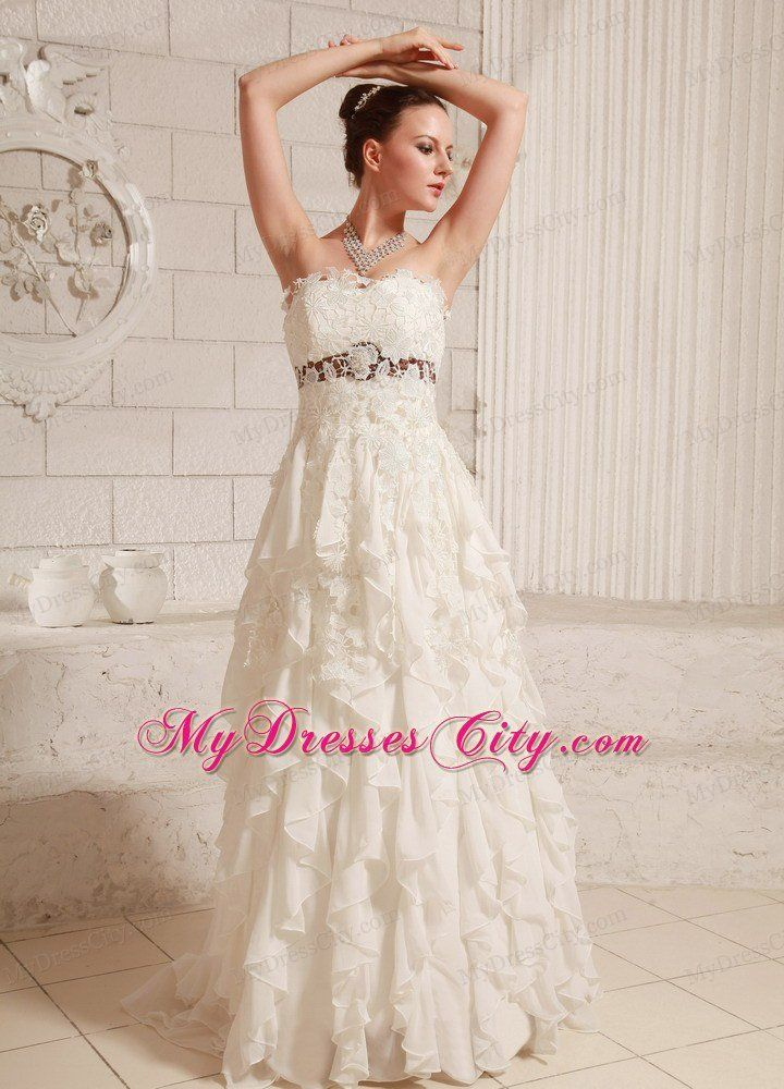 Pretty Lace And Chiffon Ruffled A Line Wedding Dress With Brush Train