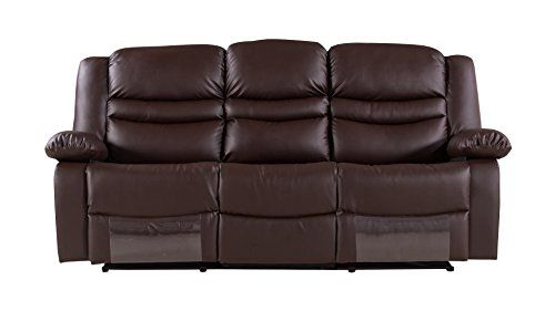 American Eagle Furniture Bayfront Collection Faux Leather Reclining Sofa With Pillow Top Armrests Dark Brown Leather Reclining Sofa Sofa Reclining Sofa