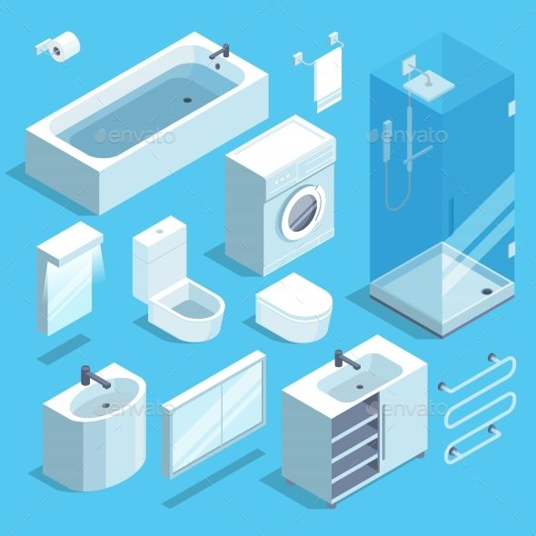 Bathroom Design Games: Isometric Furniture Elements Set Of Bathroom