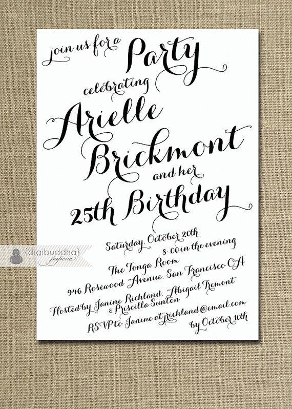 Modern Script Birthday Invitation Calligraphy Party Celebration 21st 25th 30th 40th Handwritten Printable Diy Or Printed Arielle Style Pernikahan
