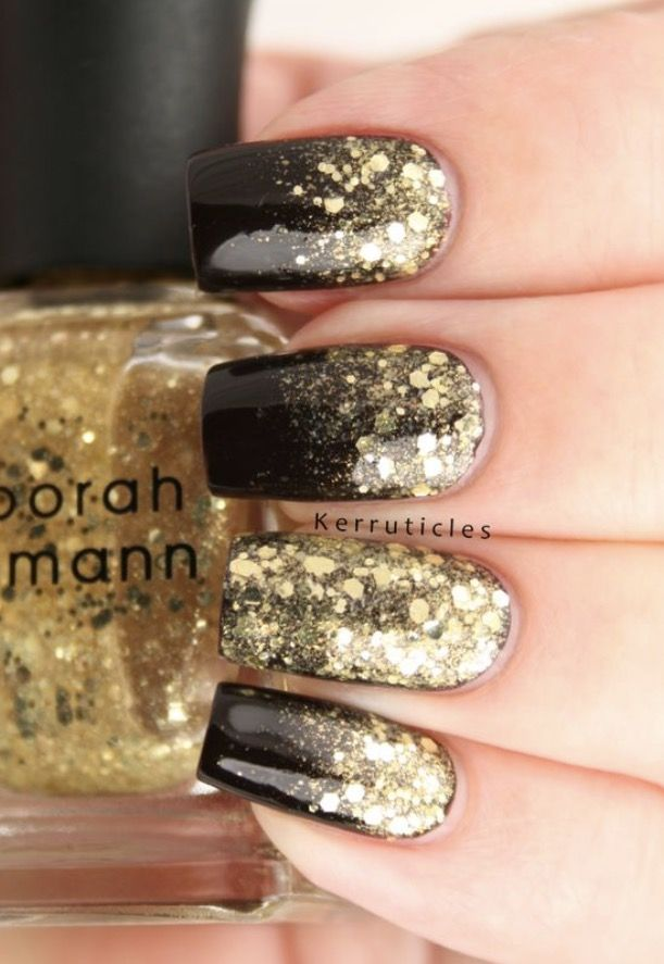 Shiny black with gold squared nails Instagram: @Kerruticles | N ...