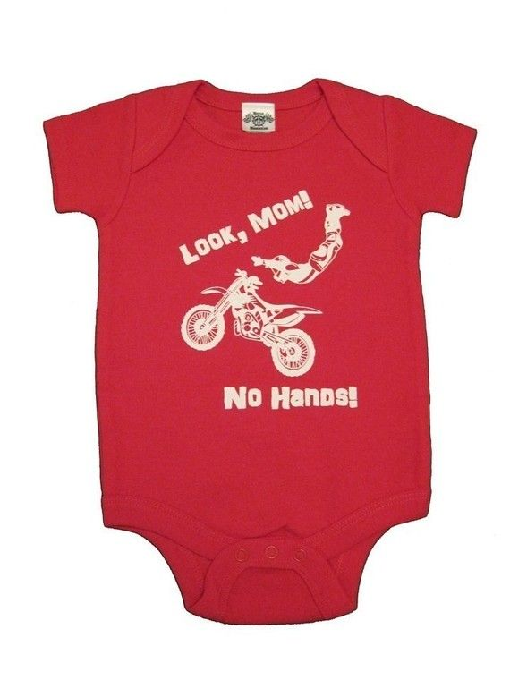 Retro Style Dirt Bike Silhouette Baby Girl Long Sleeve Infant Bodysuit