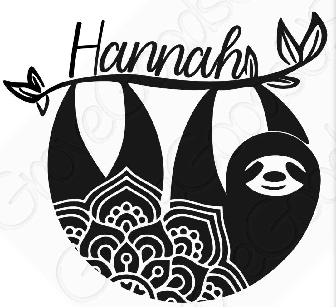 Excited To Share This Item From My Etsy Shop Sloth Mandala Vinyl Decal Add Name For Free Water Bottle Cricut Projects Vinyl Mandala Decals Vinyl Decals