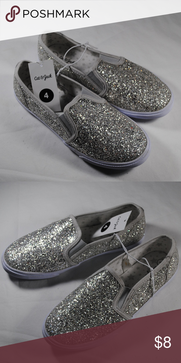 Jack, Cute Silver Glitter Slip on Shoes