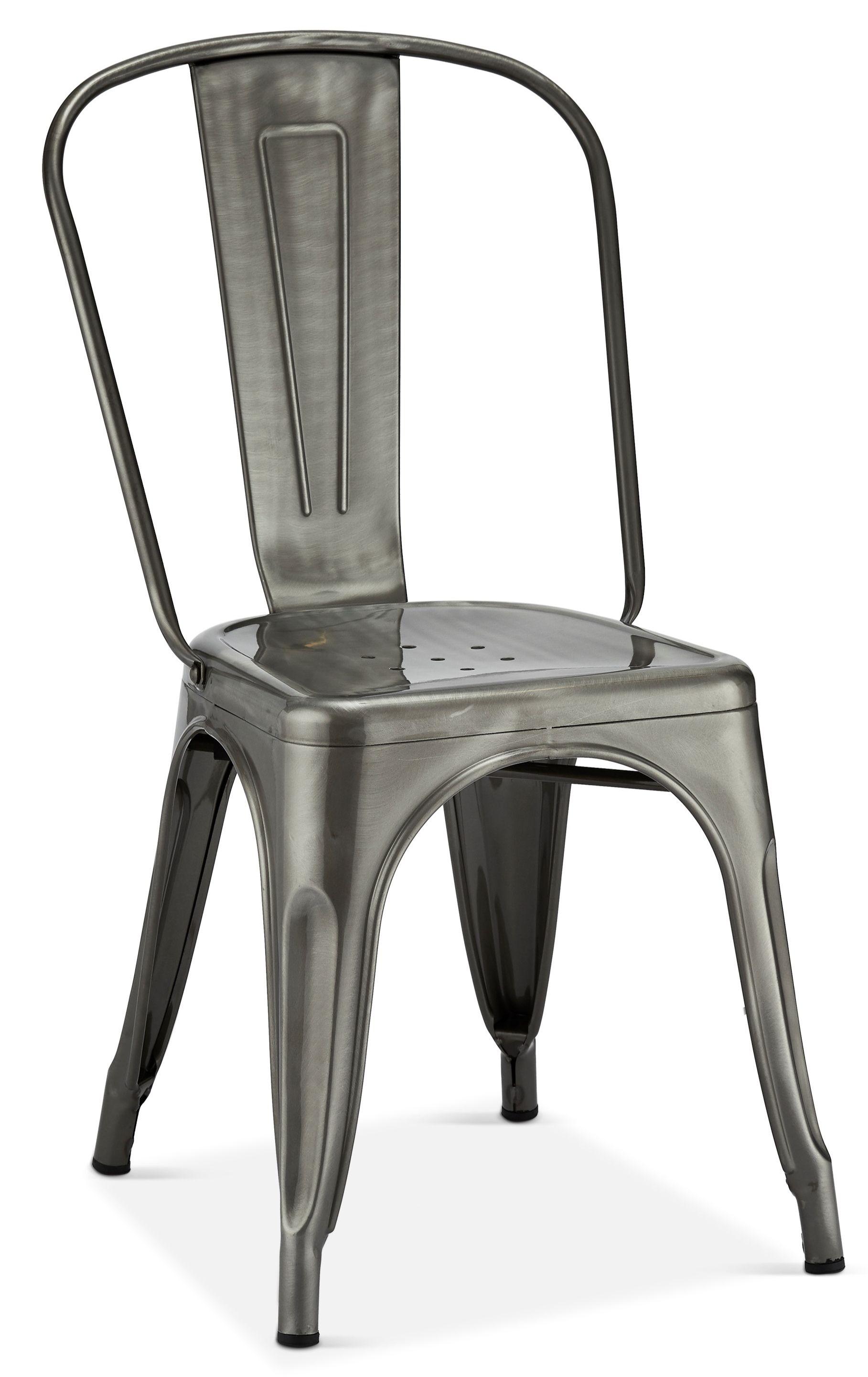 Furnhouse 4er Set Grau Stahl Stapelstuhl Industrial Kuchenstuhle Stapelbar Metall Stuhl Valerie Esszimmerstuhl Kuchenstuhle Bistro Stuhle