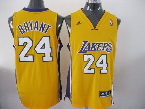 Adidas NBA Los Angeles Lakers 24 Kobe Bryant Swingman Yellow Jersey ... 4d018d0be