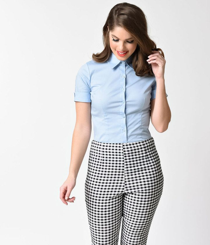25ba3af5b86f Unique Vintage Baby Blue Collared Short Sleeve Button Up Blouse ...