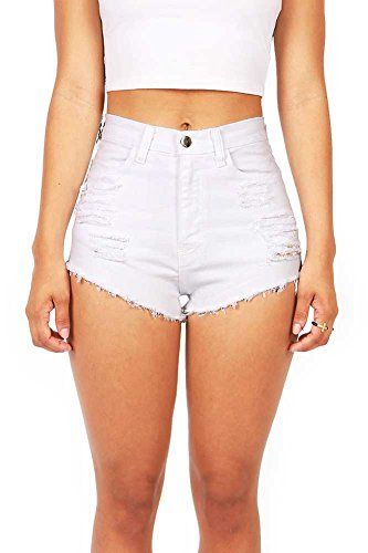 Vibrant Women's Juniors White Denim High Waist Cutoff Shorts, S ...