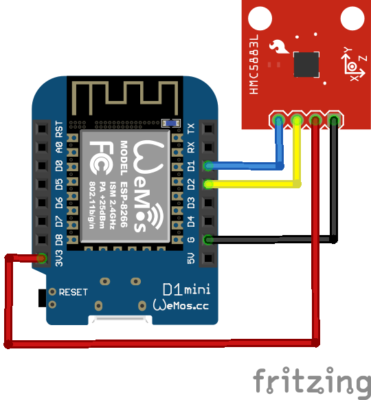 Wemos HMC5883L example #wemos #esp8266 | Arduino/Microcontrollers