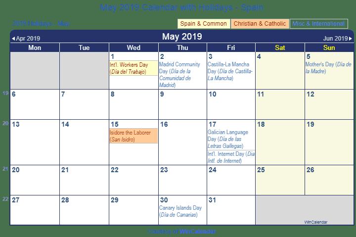 May 2019 Holidays Calendar Template Usa Uk Canada Australia