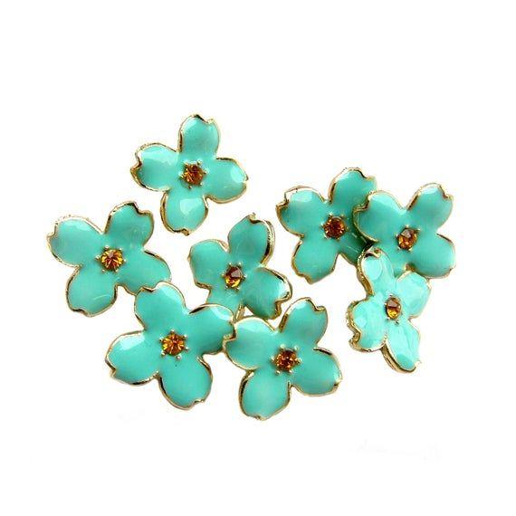 10 Pastel Green Enamel buttons Hydrangea Petal - Earring Stud, Bridemaid Hair Accessories, Bouquet