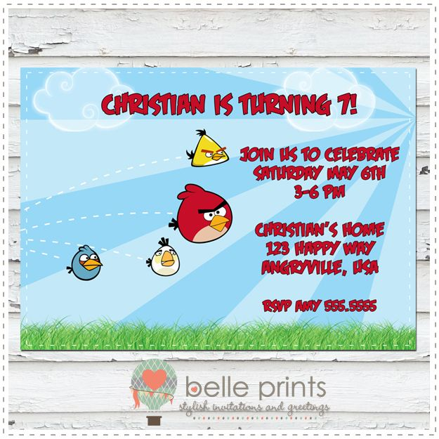 Angry Bird Birthday Invitations