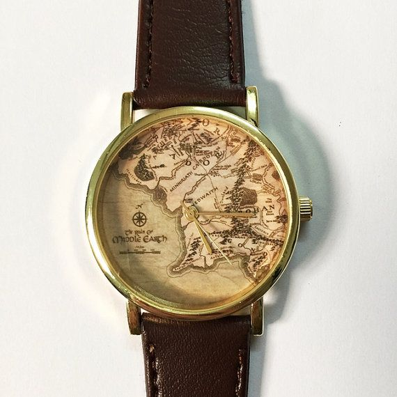 Middle earth map watch lord of the ringsvintage style leather middle earth map watch lord of the ringsvintage style leather watch women sciox Choice Image