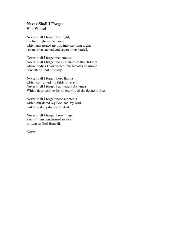 Never By Elie Wiesel Poems Pinterest Elie Wiesel Forget And Poems