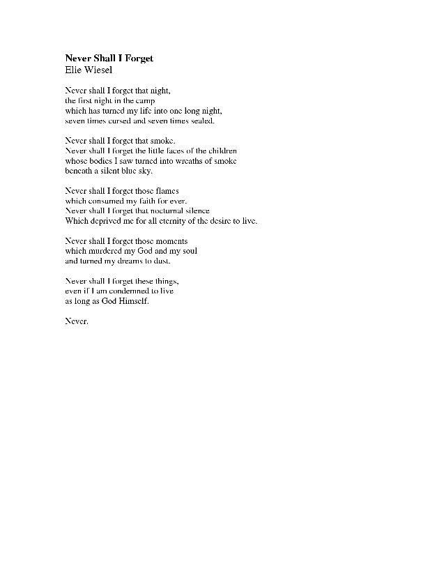 Never by elie wiesel   Poems   Pinterest   Elie wiesel and Poem