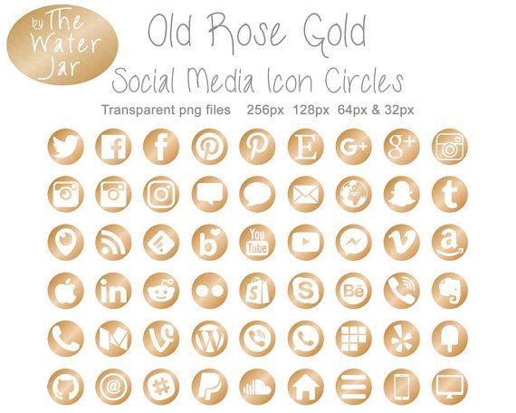 Warm Gold Social Media Icon Circles, Circle Icons in Gold Metallic, Metallic Gold Social Icons ...