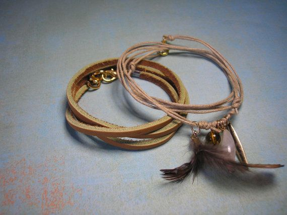 25 CENT SALE  earth tone bracelet set  tan leather and by icnative