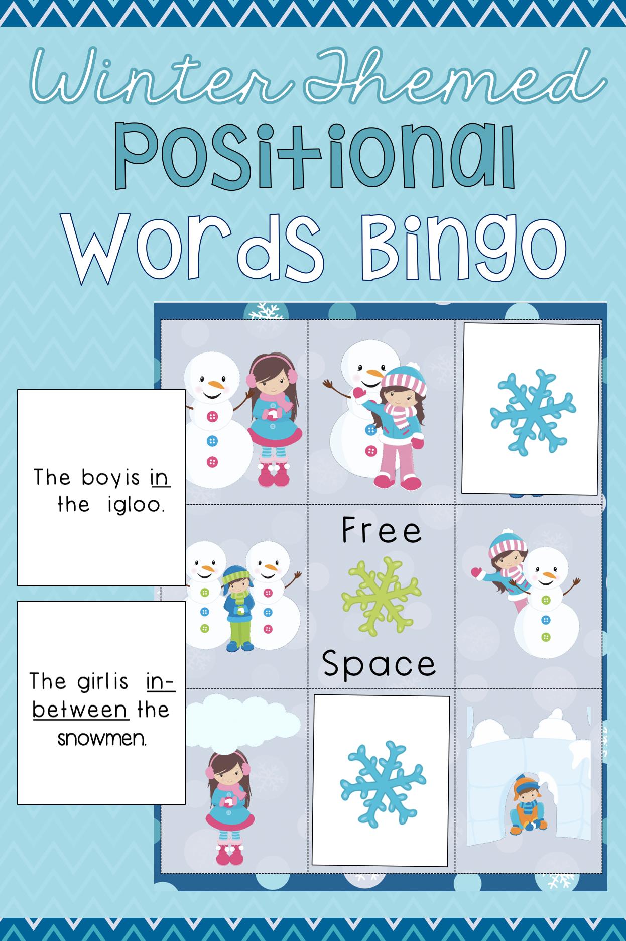 Winter Themed Positional Words Bingo Math Activities Preschool Fun Math Activities Small Group Activities Preschool [ 1874 x 1247 Pixel ]