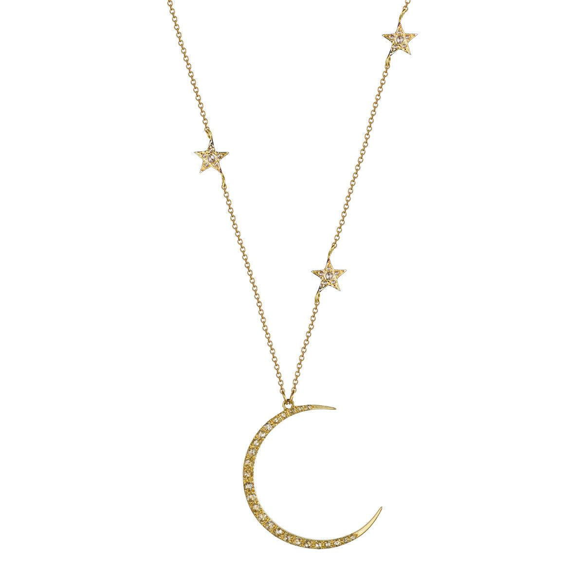 18k gold crescent moon triple star pendant with diamonds 18k 18k gold crescent moon triple star pendant with diamonds aloadofball Images